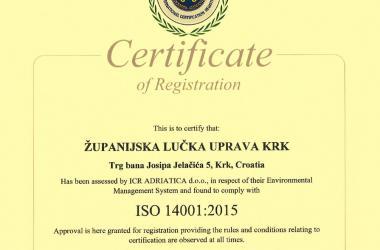 ISO certificat 14001:2015 english