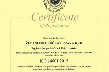 ISO certifikat 14001:2015 hrvatski