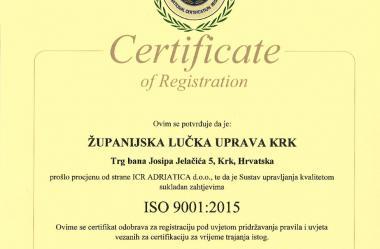 ISO certifikat 9001:2015 hrvatski