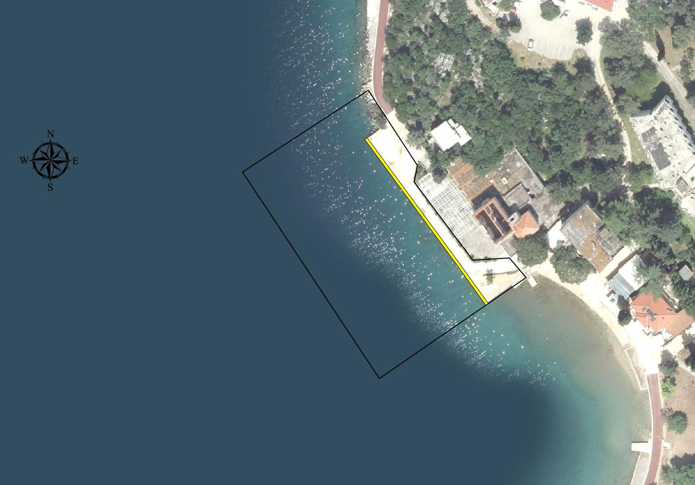 Luka Omišalj (bazen hotel Jadran) - ortofoto lučkog područja